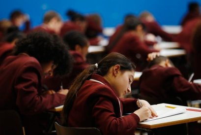 Pupils take a GCSE mathematics exam at the Harris Academy South Norwood in south east London